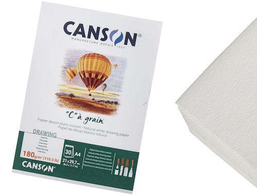 """BLOC CANSON """"C"""" À GRAIN , A4, 30H., 180GRS."""