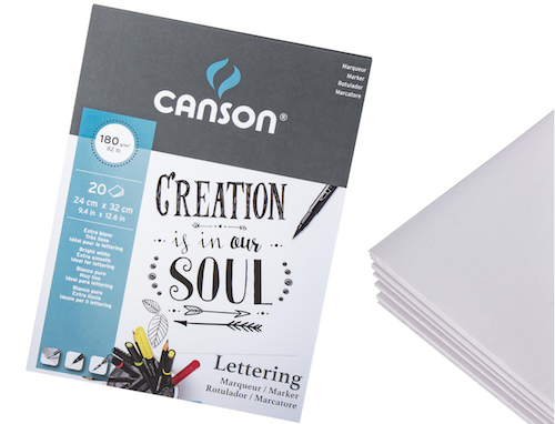 BLOC CANSON LETTERING, 24x32CMS., 12H., 180GRS.