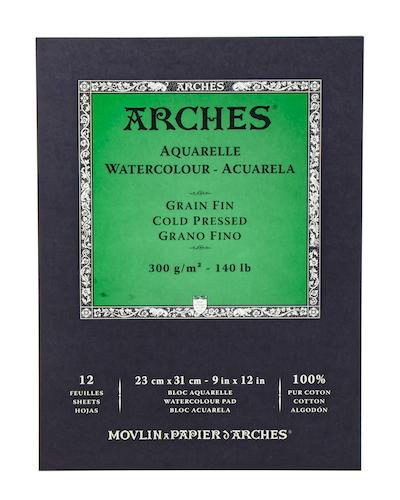 BLOC ARCHES AQUARELLE, 23x31CMS., 300GRS., 12H., GRANO FINO