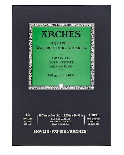 BLOC ARCHES AQUARELLE, 29,7x42CMS., 300GRS., 12H., GRANO FINO