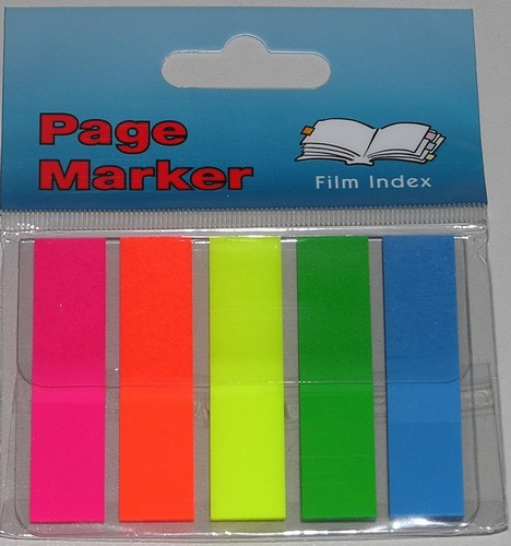 PACK CON 5 BLOCKS DE BANDERITAS DE COLORES FLUO 12 X 50 MM