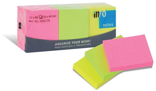 PACK DE 12 BLOCKS FLUO, 40 X 50 MM, 3 COLORES