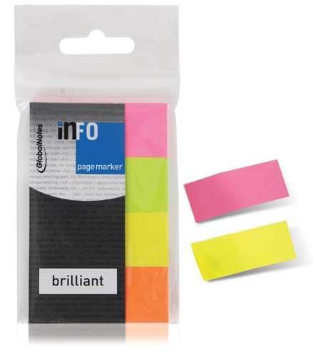 PACK CON 4 BLOCKS DE BANDERITAS DE COLORES FLUO 20 X 50 MM