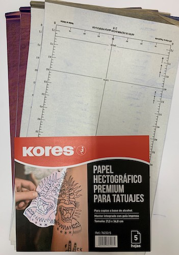 PAPEL HECTOGRÁFICO KORES VIOLETA, 215x368MM, PAQUETE C/5 HOJAS