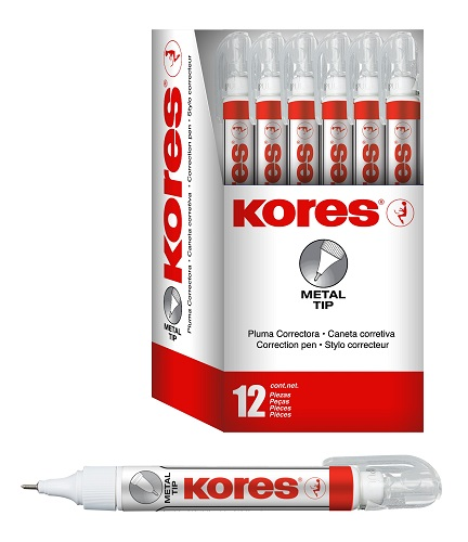 EXHIBIDOR CON 12 LAPICES CORRECTORES KORES DE 7 ML.