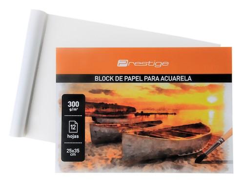 BLOC DE 12 HOJAS PAPEL ACUARELA PRESTIGE 25 x 35 cms.