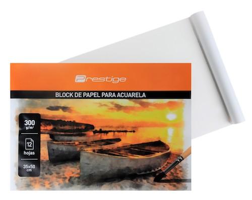 BLOC DE 12 HOJAS  PAPEL ACUARELA PRESTIGE 35 x 50 cm.