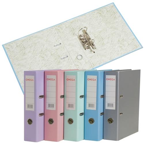 CAJA DE 50 BIBLIORATOS DE COLORES PASTEL OMEGA, FORRADOS, A4.
