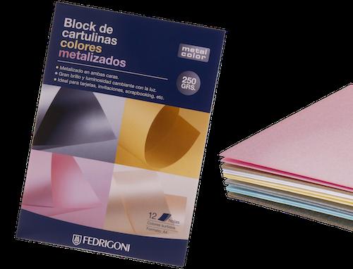 BLOC C/12 HOJAS DE CARTULINA METAL COLOR A4, 250 GRS., COLORES METALIZADOS