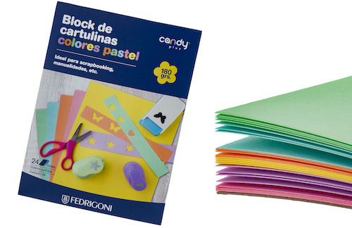 BLOC C/24 HOJAS DE CARTULINA CANDY PLUS A4, 180 GRS., COLORES PASTEL