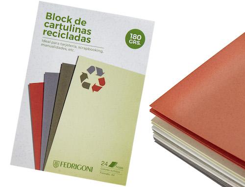 BLOC C/24 HOJAS DE CARTULINAS RECICLADAS FEDRIGONI A4, 180 GRS., COLORES SURTIDOS