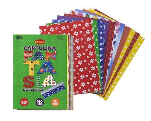 SOBRE C/50 HOJAS DE CARTULINA FANTASÍA DOBLE FAZ, 25 X 35 CM, 150 GR