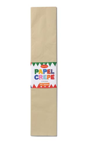 PAQUETE C/10 PLIEGOS DE PAPEL CREPÉ OMEGA.50x200cm CREMA-701