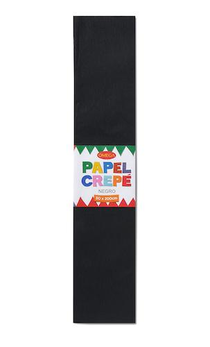 PAQUETE C/10 PLIEGOS DE PAPEL CREPÉ OMEGA.50x200cm. NEGRO-19