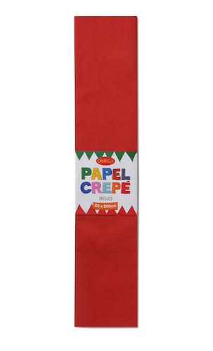 PAQUETE C/10 PLIEGOS DE PAPEL CREPÉ OMEGA.50x200cm. ROJO-01