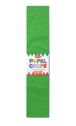 PAQUETE C/10 PLIEGOS DE PAPEL CREPÉ OMEGA.50x200cm. VERDE MANZANA-35