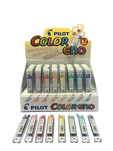 EXHIBIDOR PILOT C/48 ESTUCHES DE 6 MINAS COLOR ENO, 0.7 MM