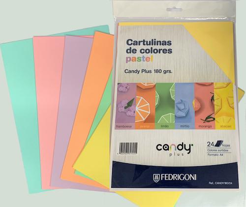 SOBRE C/24 HOJAS DE CARTULINA CANDY PLUS A4, 180 GRS., COLORES PASTEL